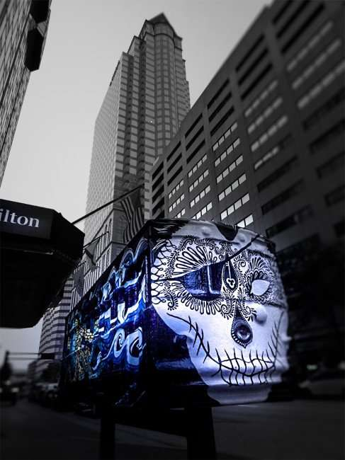 NOV 19, 2015 - Streetcar Sculpture with pirate skull by artist Samantha Churchill in front on Hilton Downtown Tampa/photonews247.com
