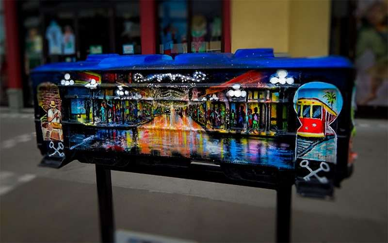 NOV 15, 2015 - Streetcar sculpture by Terry Klaaren in front of Visit Tampa Bay in Channelside Tampa, FL/photonews247.com