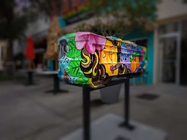 NOV 15, 2015 - The Tampa Life Streetcar Sculpture by Artist Beth E Warmath sponsored by Signal Outdoor Advertising, Franklin St, Tampa, FL/photonews247.com