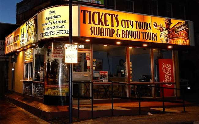 NOV 19, 2015 - Tickets for attractions and tours sold on shop on Canal Street in New Orleans, LA/photonews247.com