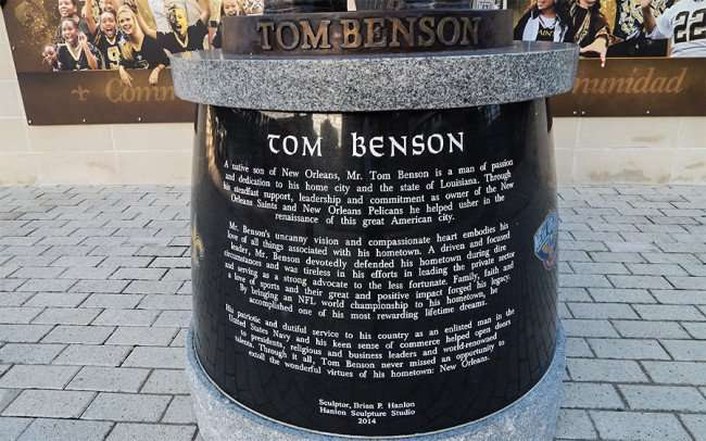 NOV 19, 2015 - Tom Benson Statue by Sculptor Artist Brian Hanlon at Mercedes-Benz Superdome in New Orleans, LA/photonews247.com