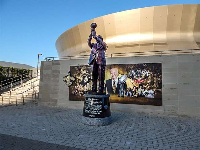 NOV 19, 2015 - Tom Benson statue at Mercedes-Benz Superdome in New Orleans, LA/photonews247.com