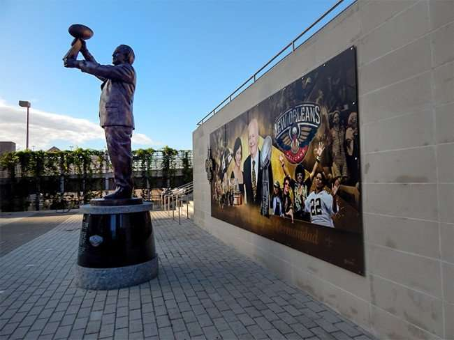 NOV 19, 2015 - Tom Benson statue left side at Mercedes-Benz Superdome in New Orleans, LA/photonews247.com
