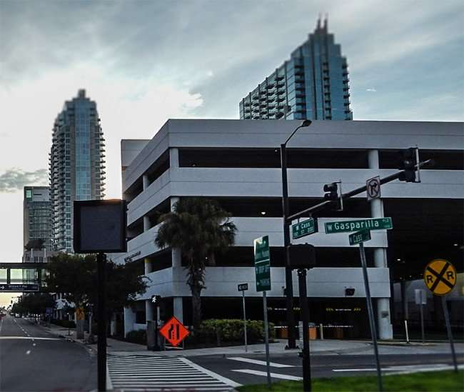 AUG 23, 2015 - What William Poe Parking Garage look like from Cass St before Bask and Tes One painted it in downtown Tampa, FL/photonews247.com