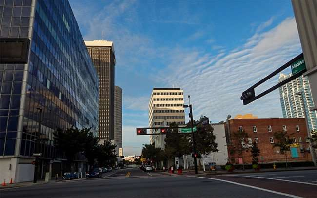 NOV 8, 2015 - horizontal traffic signals at the intersection of Madison Street and Florida Avenue in downtown Tampa, FL/photonews247.com
