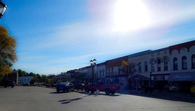 OCT 10, 2015 - Armstrong Family Dental, American Financial, Green Door Gift Shop, Flanagan's Shenanigans Bar on 11th St, Monroe, WI/photonews247.com