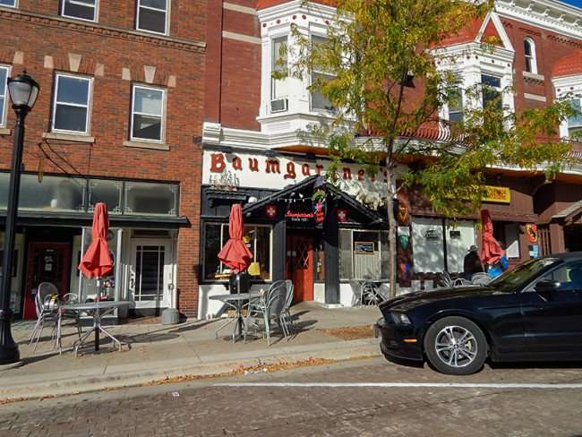 OCT 10, 2015 - Baumgartner's Cheese Store, Tavern with sidewalk dining on 16th Ave, Monroe, WI/photonews247.com