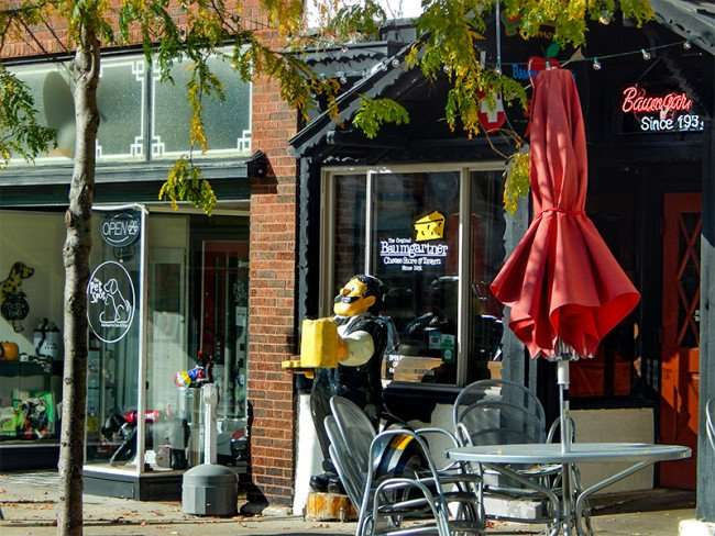 OCT 10, 2015 - Baumgartner's Cheese Store and Tavern next to The Pet Spot on 16th ST, Monroe, WI/photonews247.com