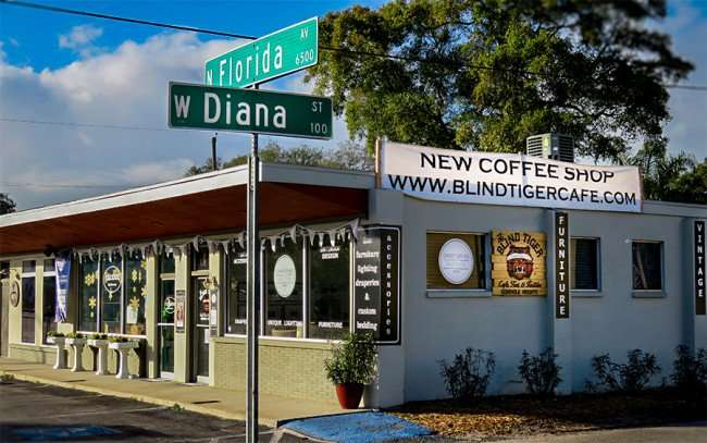 DEC 13, 2015 - Blind Tiger Coffee Shop and clothing store on N Florida Av and W Diana Street, Seminole Heights, Tampa, FL/photonews247.com