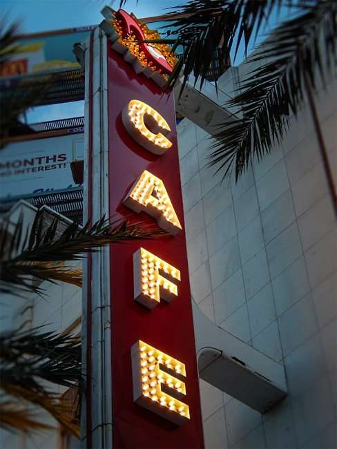 NOV 19, 2015 - Cafe lighted on sign at Ruby Slipper Cafe on Canal Street, New Orleans, LA/photonews247.com