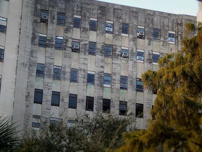 NOV 19, 2015 - Charity Hospital with AC window units still in windows in New Orleans, LA/photonews247.com