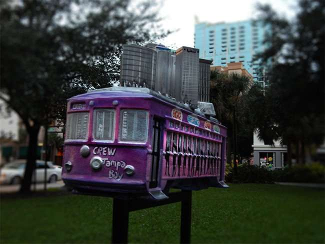 NOV 15, 2015 - Crew Tampa Bay sponsored sculpture with miniature skyline of downtown Tampa now at Gaslight Park/photonews247.com