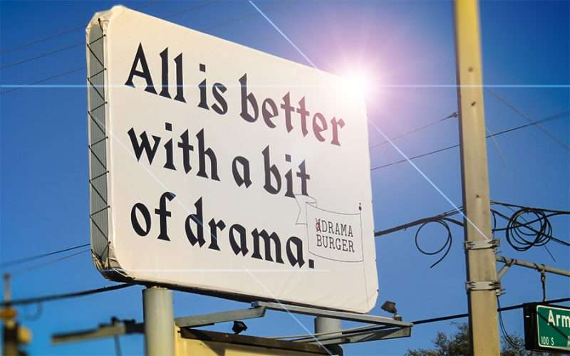 DEC 13, 2015 - Drama Burger sign along Kennedy Blvd and Armenia Ave in Tampa, FL/photonews247.com