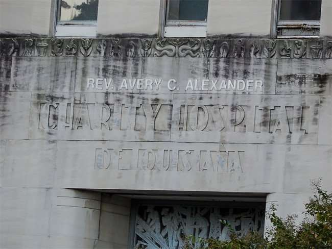 NOV 19, 2015 - Embossed lettering in stones that read Rev Avery C Alexander Charity Hospital De Louisiana/photonews247com