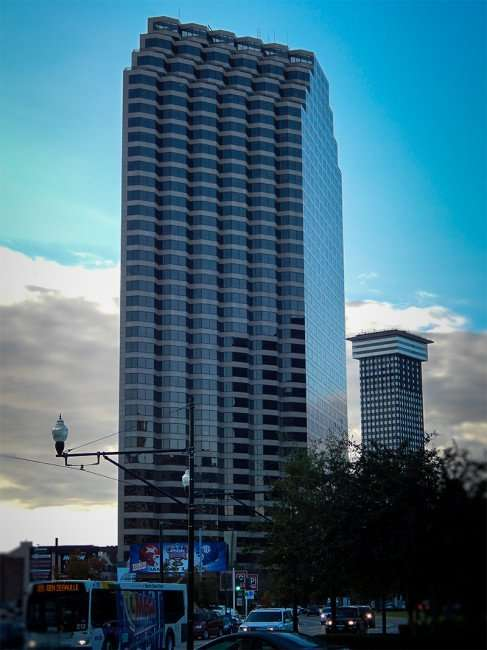 NOV 19, 2015 - Energy Centre Skyscraper, all 39 floors with Plaza Tower in background in New Orleans, LA/photonews247.com