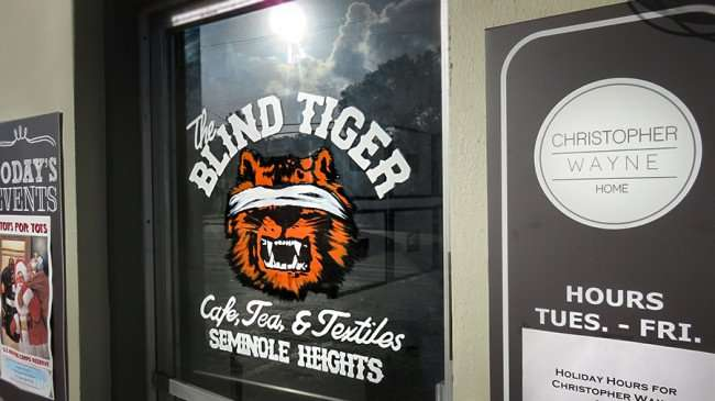 DEC 13, 2015 - Front door of The Blind Tiger Cafe, Tea & Textiles Seminole Heights at the Christopher Wayne Home, Tampa, FL/photonews247.com