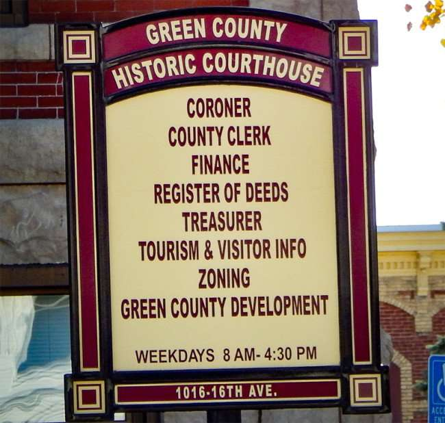 OCT 10, 2015 - Green County Historic Courthouse 1016, 16th Ave on the Square in Monroe, WI/photonews247.com