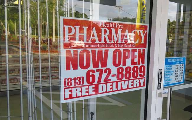 DEC 10, 2015 - Health Pro Pharmacy free deliveries on Big Bend Road, Riverview, FL/photonews247.com