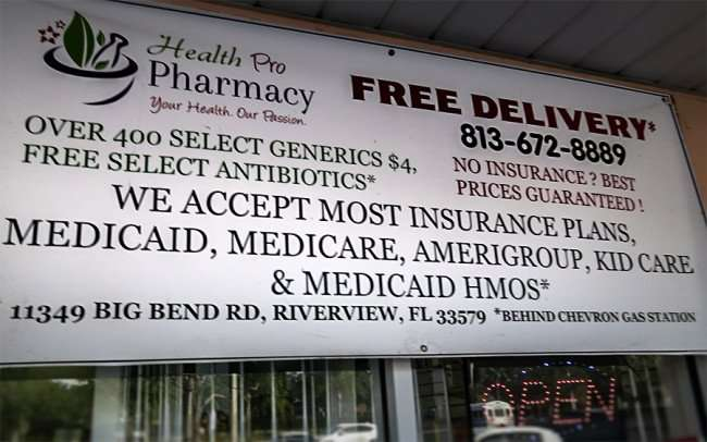 DEC 10, 2015 - Health Pro Pharmacy provides Free Delivery, Generic Drugs $4, Big Bend Rd, Riverview, FL/photonews247.com