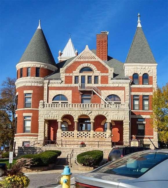 OCT 10, 2015 - Historic Richardsonian Romanesque style courthouse on the Square, Monroe, WI/photonews247.com