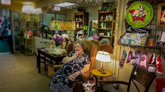 Dec 30, 2015 - Jackie sitting in chair in Fancy That Resale and Consignment, mother of the Diane the owner of the shop in Sun City Center Plaza, FL/photonews247.com