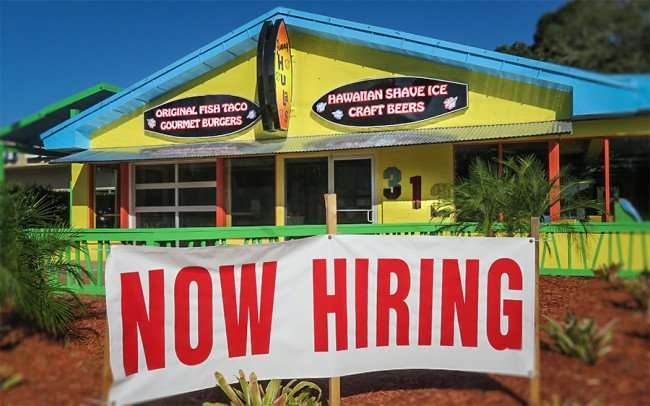 DEC 13, 2015 - Jimmy Hula's Brandon with Now Hiring banner in front of building along Brandon Blvd, Tampa Bay Florida/photonews247.com