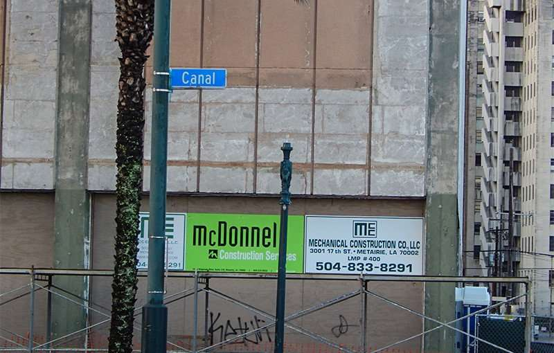 NOV 19, 2015 - Jung Hotel under construction by McDonnel Construction Services on Canal St, New Orleans, LA/photonews247.com