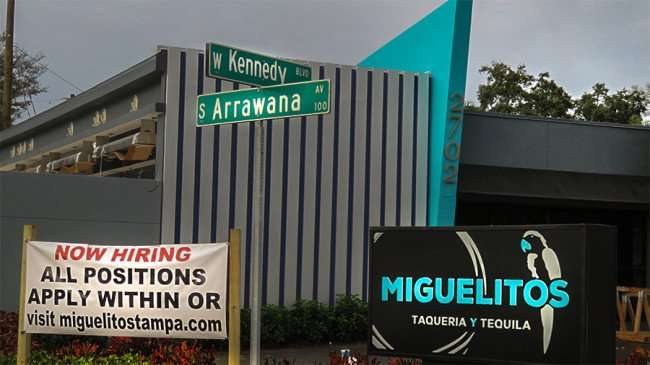 Jan 10, 2016 - Miguelito's hiring all positions at corner of Kennedy and Arrawana 2702 Kennedy Blvd, Tampa/photonews247.com