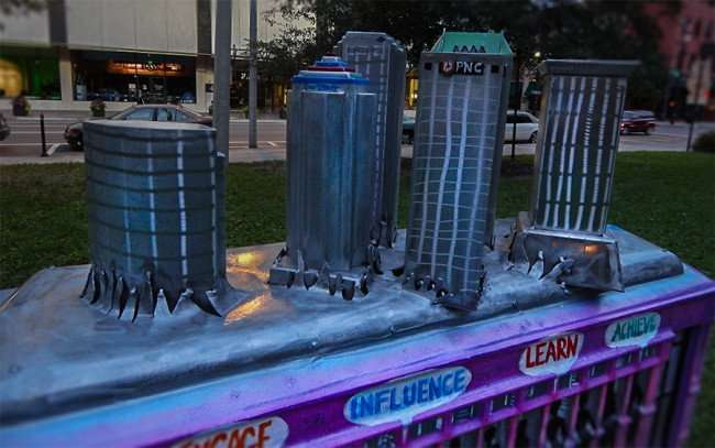 NOV 15, 2015 - Model rendering of Tampa skyline of streetcar sculpture in Lykes Gaslight Park on Franklin Street, downtown Tampa, FL/photonews247.com