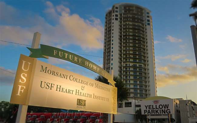 DEC 13, 2015 - Morsani Med School construction site next to Towers of Channelside apartment tower in Tampa, FL/photonews247.com