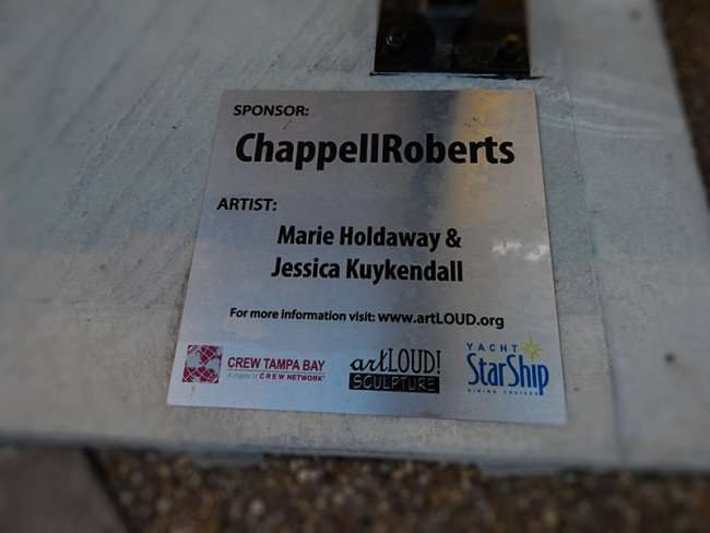 NOV 15, 2015 - Name plate for ChappellRoberts, sponsor for artLoud Sculpture, created by artists Marie Holdaway and Jessica Kuykendall, Tampa, FL/photonews247.com