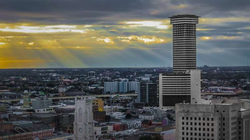 Jan 9, 2017 - New Orleans Skyline from Harrahs room 2215 with Plaza Tower behind Charity Hospital/photonews247.com