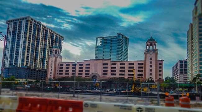 Jan 31, 2016 - Bayfront Tower Condos (L) ONE St Petersburg construction (C), Priatek building (R), St Petersburg, FL/photonews247.com