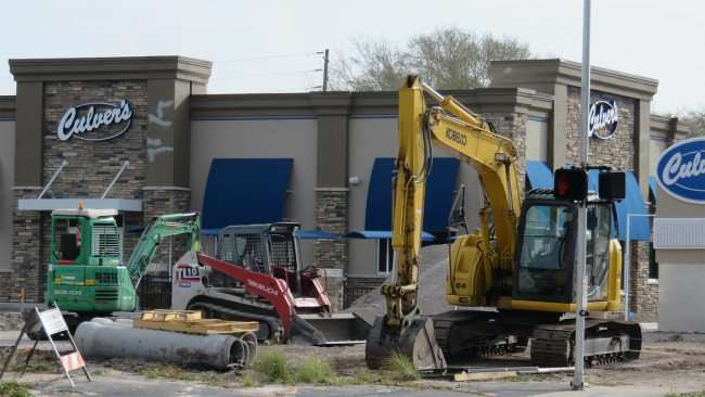 Mar 13, 2016 - Culver's Clearwater FL, construction site, excavators, bobcats, piping and sand pile/photonews247.com