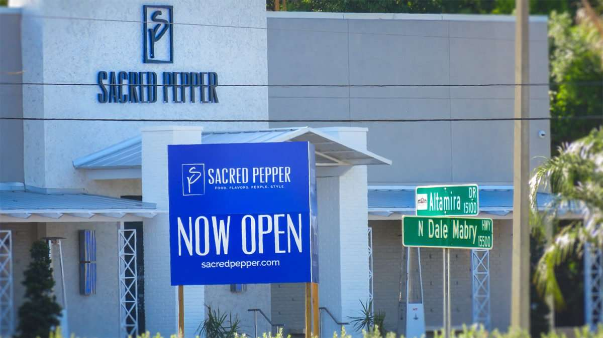 April 24, 2016 - Sacred Pepper with now open sign on N Dale Mabry, Tampa/photonews247.com