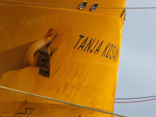 Jan 23, 2016 - Tanja Kosan with anchor up next to port holes and name, Port of Tampa, Channel District/photonews247.com