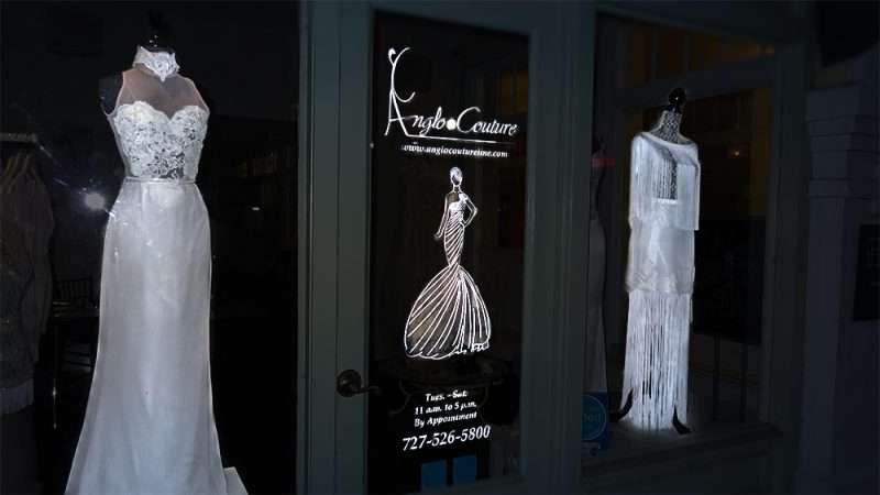 Jan 31, 2016 - Anglo Couture Wedding Dresses in window display, St Petersburg, FL/photonews247.com