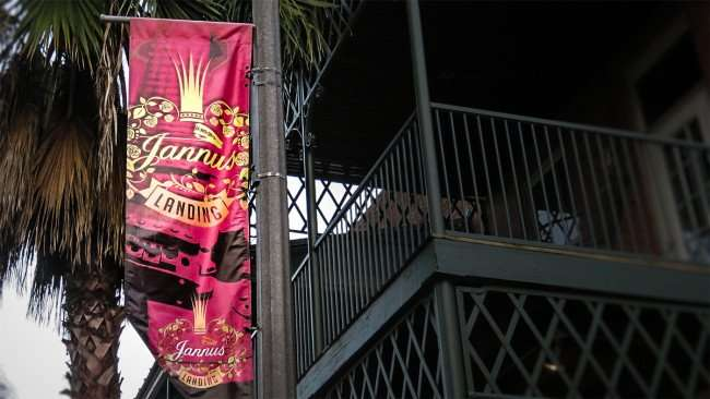 Feb 21, 2016 - Banner that reads Jannus Landing on Street light with palm tree in St. Petersburg, FL/photonews247.com