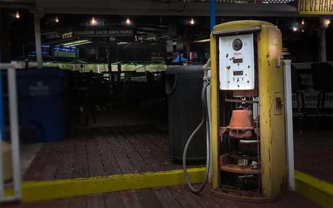 Jan 31, 2016 - Ferg's St Pete yellow antique Tokheim Gas Pump on party deck/photonews247.com