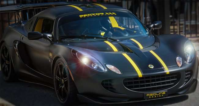 Feb 14, 2016 - Flat black Lotus with yellow stripes by Redline Design at WoB, Brandon,FL/photonews247.com