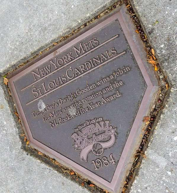 Jan 31, 2016 - Home Plate made of metal on sidewalk at Ferg's Bar reads 'Tampa Bay's Dwight Gooden wins NL Rookie of the Year Award'/photonewsw247.com