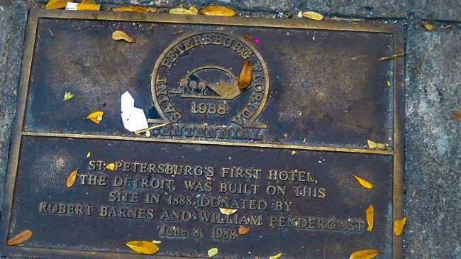 Feb 21, 2016 - Hotel Detroit Condos. with Centennial plate on sidewalk, St. Petersburg, FL/photonews247.com
