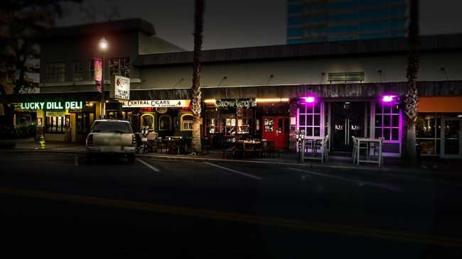 Jan 31, 2016 - (L to R) Lucky Dill Deli, Central Cigars, Crowley's Irish Pub, Lux Suite Six Nightclub in the Jannus Landing section of downtown St Petersburg, FL/photonews247.com