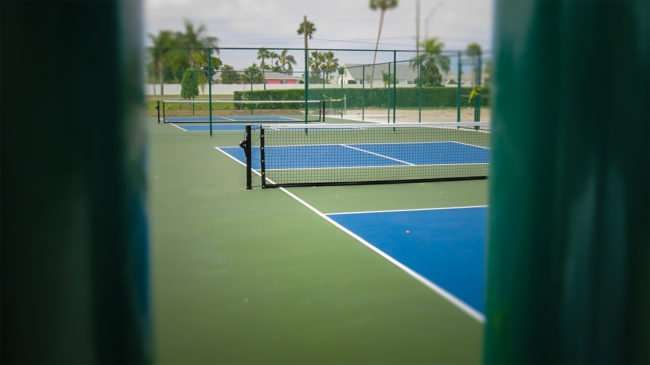 April 22, 2016 - New Kings Point Pickleball courts painted blue and green, Sun City Center, FL/photonews247.com