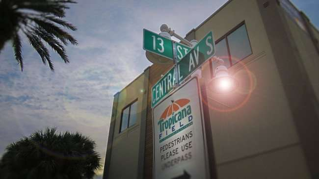 Jan 31, 2016 - Pedestrian path to Tropicana Field at corner of 13th Street and Central Ave in St Pete/photonews247.com