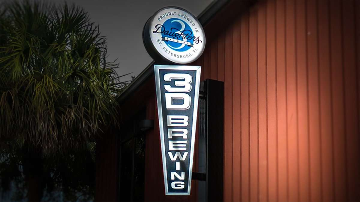 Jan 31, 2016 - 3 Daughters Brewing sign outside building in St. Pete, FL/photonews247.com