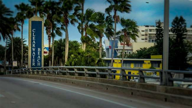 Mar 13, 2016 - Bridge with blue sign labeled Clearwater Beach/photonews247.com