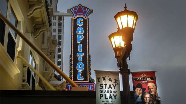 Mar 6, 2016 - Capitol Theatre sign and street light with banner that reads 'Stay up and Play' in the Cleveland Street District of Clearwater, FL/photonews247.com