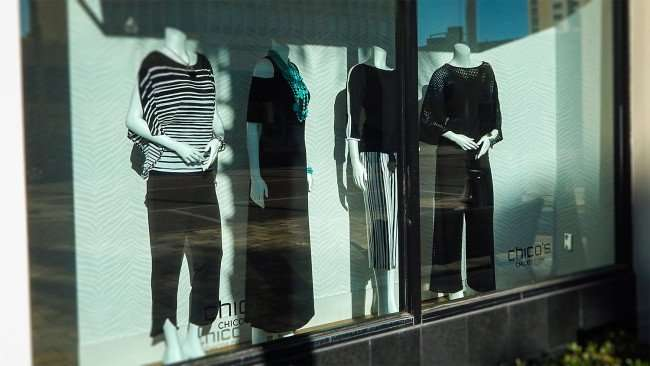 Mar 6 , 2016 - Chicos St Pete mannequins wearing dresses and separates viewed while window shopping/photonewsw247.com
