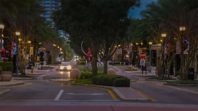 Mar 13, 2016 - Cleveland Street District with street lights on Clearwater, FL/photonews247.com
